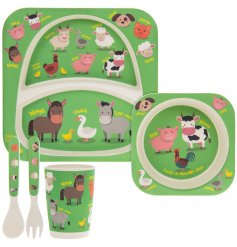 this farm yard animal covered dinner set will be sure to keep your little ones entertained while they eat