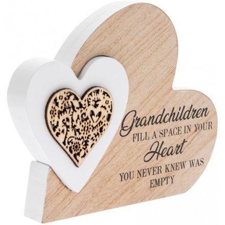 Sentiments Double Heart Side Block - Grandchildren Fill A Space