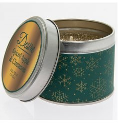 A festive themed Green and Gold Tin filled with a delightfully fragrant wax centre