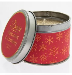 A festive themed Red and Gold Tin filled with a delightfully fragrant wax centre