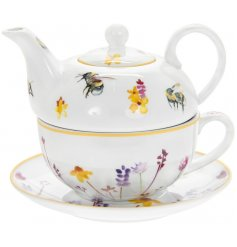 A smooth white ceramic Tea For One Set with a beautifully printed Busy Bee Garden themed decal