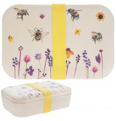 A charming bamboo based travel lunch box with a beautifully printed Busy Bee Garden themed decal