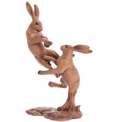Add a touch of the wilderness into your home with this beautiful posed Hare figures