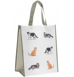 A large fabric shopping bag, set with a printed cat decal and added grey trim