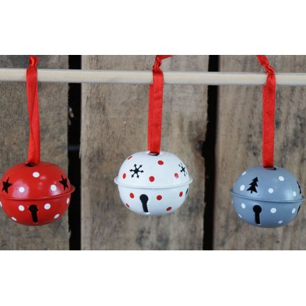 A delightful little mix of festive themed jingling bells strung up by red ribbons