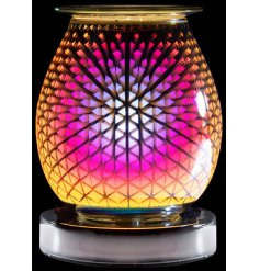 A stunning and curved multicoloured lamp creating a geometric three-dimensional design.