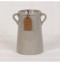 A stylish ceramic vase with a rich grey glazed finish and twin handles. Complete with a PU leather 'For You' tag.