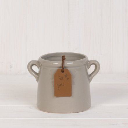 A stylish small grey planter with a PU leather gift tag reading 'For You'.