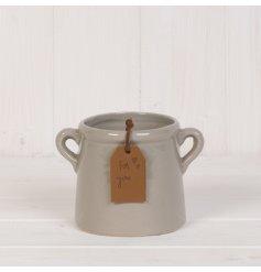 A chic tapered planter with twin handles and a brown PU leather 'For You' gift tag with heart engraving.