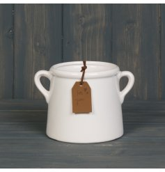 A chic white glazed planter with twin handles and a rustic PU brown leather tag with a 'For You' embossed label.