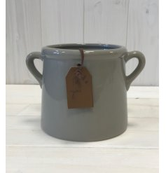 A chic grey planter with a stylish 'For You' tag. Complete with twin handles and a richly glazed finish.