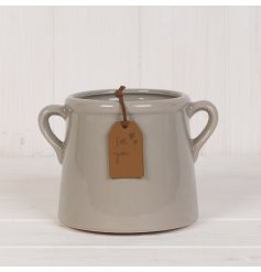 A stylish grey planter with twin handles and a rustic PU Leather tag featuring hearts and a 'For You' engraving.