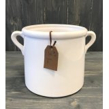 A stylish planter with twin handles and a PU brown leather gift tag with a heart and 'For You' embossment.