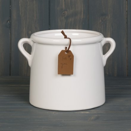 A stylish tapered planter with a white glazed finish. Complete with twin handles and a 'For You' gift tag.