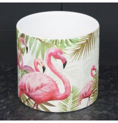 Compact ceramic pot painted with tropical flamingo design