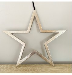 A chic silver metal star hanger with a raw nickel finish and long black hanger