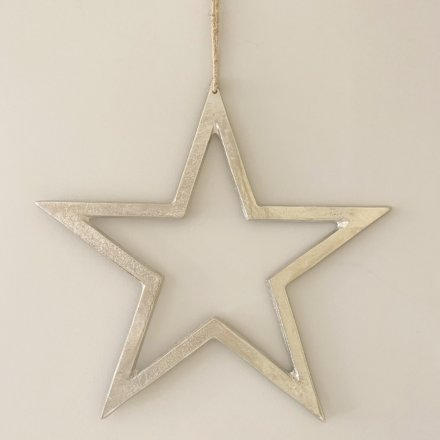 Silver Hanging Star, 40cm