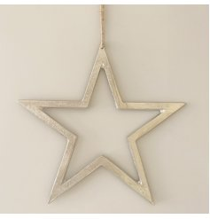 A chic silver star decoration with a textured nickel finish and long ribbon hanger.