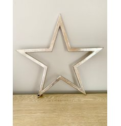 A luxury silver star decoration with a raw nickel finish and a long black ribbon hanger.