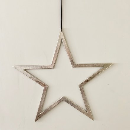 Silver Hanging Star, 60cm