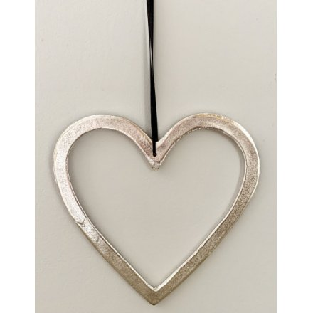Silver Hanging Heart, 20cm