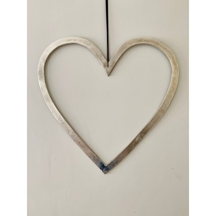 Raw Nickel Finish Heart, 30cm