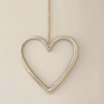 Silver Hanging Heart, 30cm