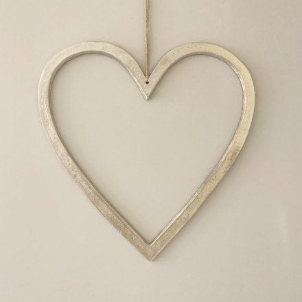 Silver Hanging Heart, 40cm