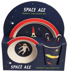 An over the moon themed Dinner Set complete with a decorated card casing