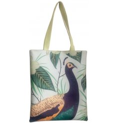 A large fabric tote bag featuring a beautifully printed Peacock decal