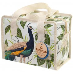 A zip up lunch bag featuring a beautifully printed peacock decal