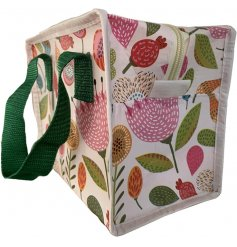 A zip up lunch bag featuring a beautifully printed autumn decal