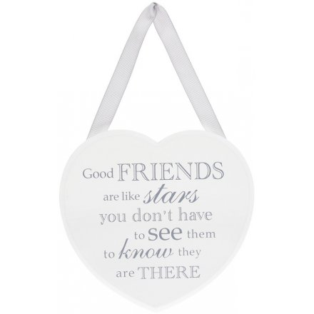 Grey and White Heart Plaque - Good Friends