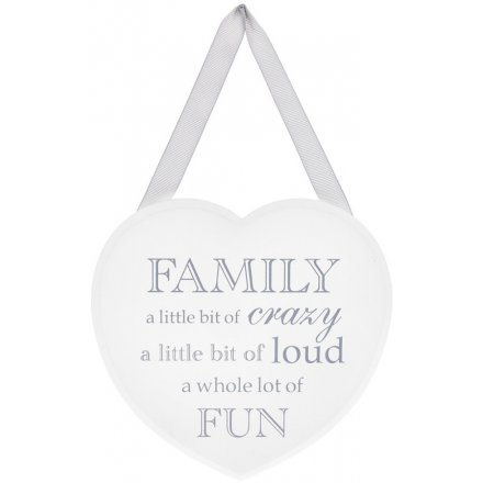 Grey and White Heart Plaque - Little Bit Of Crazy