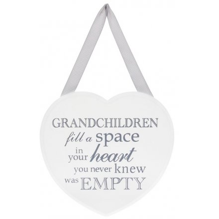 Grey and White Heart Plaque - Grandchildren