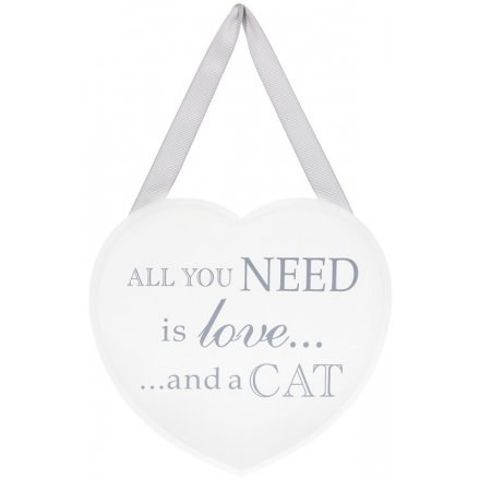 Grey and White Heart Plaque - Love and a Cat