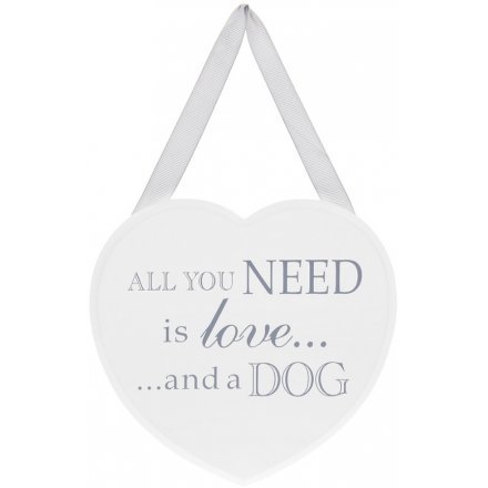 Grey and White Heart Plaque - Love and a Dog