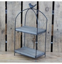 Smaller Metal Display Stand with two wooden shelves and a bird adornment