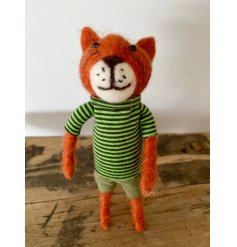 A quirky and original felt tiger figure with a bold striped t-shirt and shorts. Complete with a bendy tail to position.