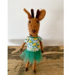 A unique and characterful felt giraffe figurine with a floral t-shirt and net tutu.