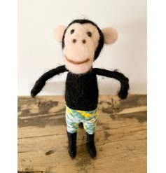 A cheeky felt monkey figure complete with colourful Hawaiian shorts and a bendy tail to position.