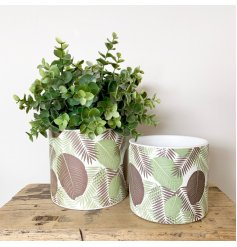 A classic white ceramic planter with a beautifully decorated fern foliage design.