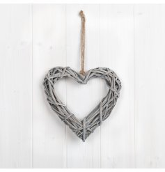 A classic rattan heart decoration with a woven design and chunky rope hanger.