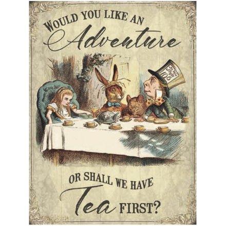 Large Vintage Metal Sign, Alice Adventure
