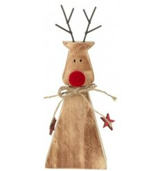 A standing wooden reindeer complete with a jute string bow