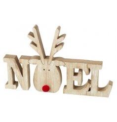 A rustic wooden Christmas sign with a feature reindeer figure, complete with red pom pom nose.