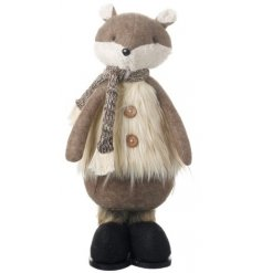 A festive themed standing Woodland Fox dressed up in a snuggly faux fur waistcoat