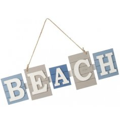Lets go to the beach!   A quirky wooden plaque with blue and white tones, a must have accessory for any coastal space!