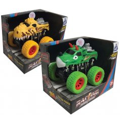 Pull back these Dino themed Super Trucks and watch them speed off with flashing lights and roaring sounds!