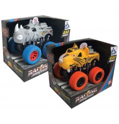 Pull back these Safari themed Super Trucks and watch them speed off with flashing lights and roaring sounds!